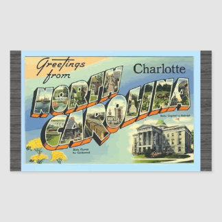 Greetings From North Carolina Charlotte, Vintage Rectangle Sticker