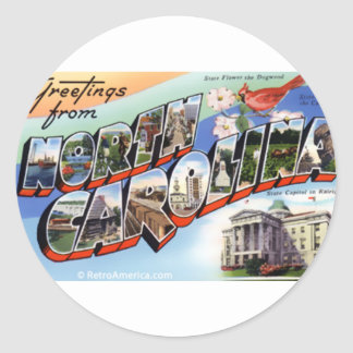 Greetings From North Carolina Classic Round Sticker