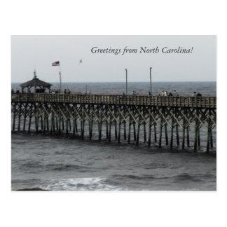 "Greetings from North Carolina!"" Pier Fishing Postcard"