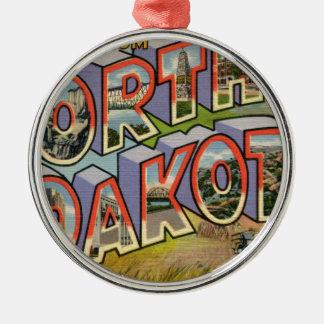 Greetings From North Dakota Metal Ornament