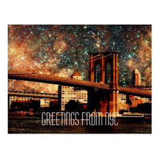 Greetings from NYC Starry Night Brooklyn Bridge Postcard