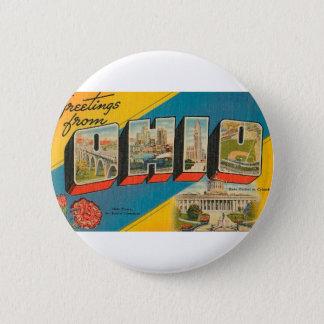 Greetings From Ohio 6 Cm Round Badge
