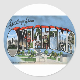 Greetings From Oklahoma Classic Round Sticker