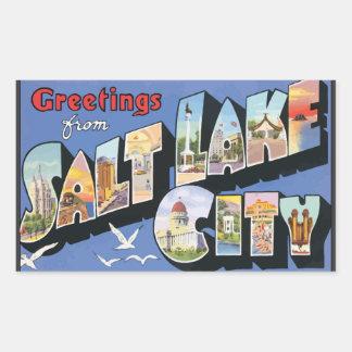 Greetings From Salt Lake City, Vintage Rectangular Sticker