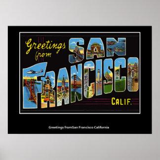 Greetings from San Francisco California Poster