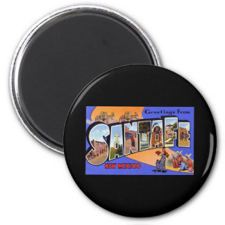 Greetings from Santa Fe New Mexico 6 Cm Round Magnet