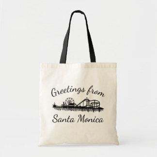 Greetings from Santa Monica California Pier Cali Tote Bag