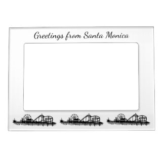 Greetings from Santa Monica California Pier Gift Magnetic Picture Frame