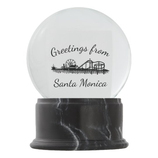 Greetings from Santa Monica California Pier Gift Snow Globe