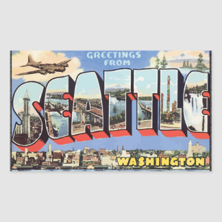 Greetings From Seattle Washington, Vintage Rectangular Sticker