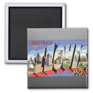 Greetings From St. Louis, Mo., Vintage Square Magnet