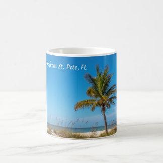 Greetings from St. Pete Florida Palmtree Beach mug