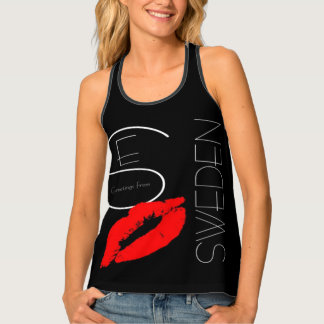 Greetings from Sweden Red Lipstick Kiss Typography Singlet