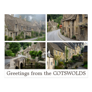 Greetings from the Cotswolds collage postcard