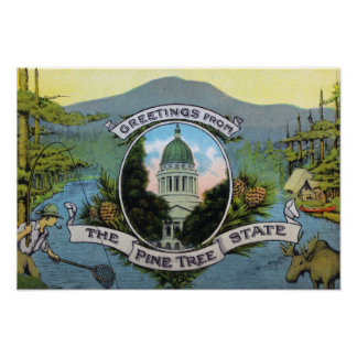 Greetings From the Pine Tree State, Scenic Poster