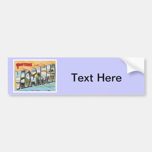 Greetings From Virginia VA USA Bumper Sticker