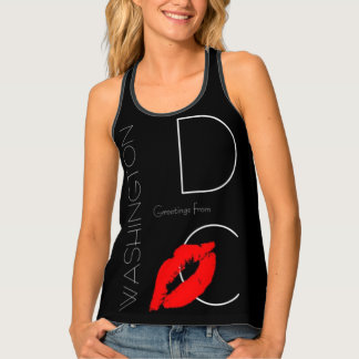 Greetings from Washington D.C. Red Lipstick Kiss Singlet