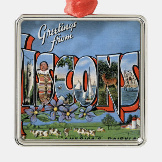 Greetings From Wisconsin Metal Ornament