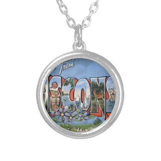 Greetings From Wisconsin Silver Plated Necklace