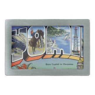 Greetings From Wyoming Rectangular Belt Buckles