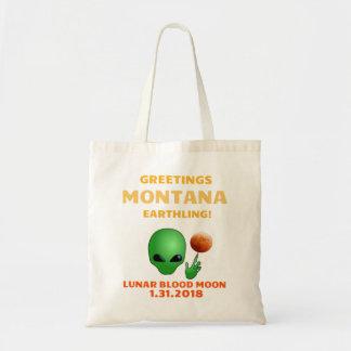 Greetings Montana Earthling! Lunar Eclipse 1.31.18 Tote Bag