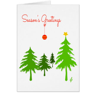 Greetings, Pine Trees, 1 star, 1 red Ornament Card