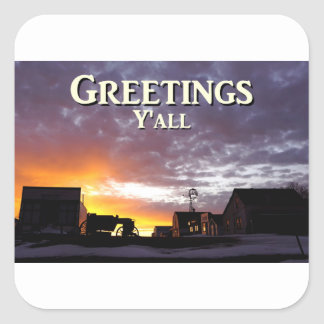 Greetings Y'all Square Sticker
