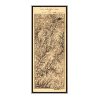 Gregg & Stuart's Cavalry Battle of Gettysburg Map Canvas Prints
