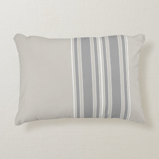 Greige and Gray Stripes Off-Center Modern #D3CFC7 Decorative Cushion