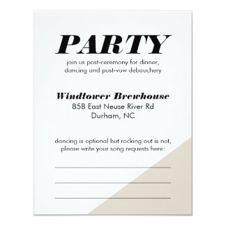Greige Color Block Wedding Reception Card