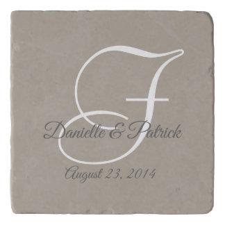 Greige Gray White Monogram Wedding Keepsake Trivet