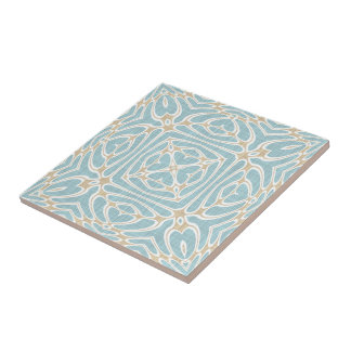 Greige Seafoam Green Taupe Brown Batik Pattern Ceramic Tile