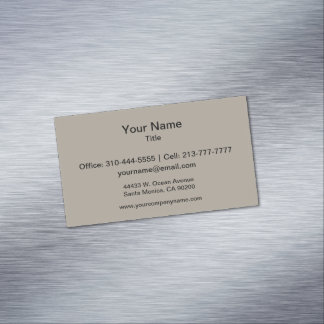 Greige Solid Color Customize It Magnetic Business Card