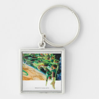 Gren Lanterns Flying in Space Silver-Colored Square Key Ring