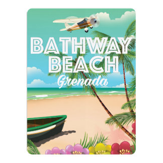Grenada Bathway beach Travel Poster 17 Cm X 22 Cm Invitation Card