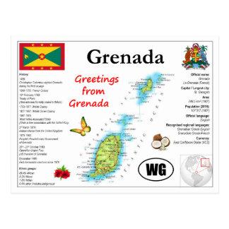 Grenada Map Postcard