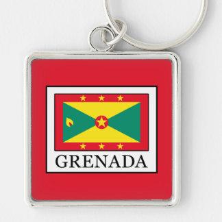 Grenada Silver-Colored Square Key Ring
