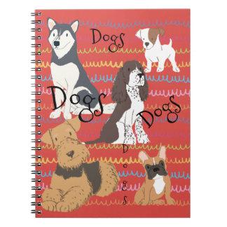 Grenadine Red Backs the Dog Crowd Spiral Notebook