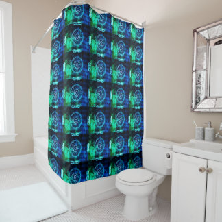Grenn and Blue Abstract Pattern Shower Curtain