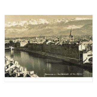 Grenoble, vue generale des alpes postcard