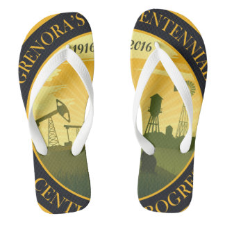 Grenora Centennial Official logo Flip Flops