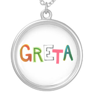 Greta fun colorful word art gifts for Greta-lovers Round Pendant Necklace