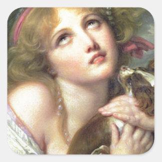 "Greuze Papillon/Phalene ""Fidelity"" Square Sticker"
