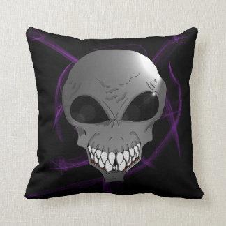 Grey alien Cotton Throw Pillow