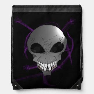 Grey alien Drawstring Backpack
