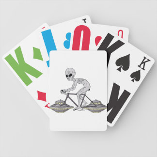 Grey Alien Riding Bike With UFO Wheels Bicycle Playing Cards