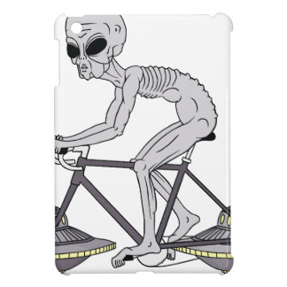 Grey Alien Riding Bike With UFO Wheels Case For The iPad Mini