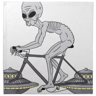 Grey Alien Riding Bike With UFO Wheels Napkin