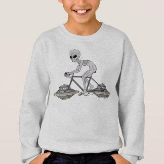Grey Alien Riding Bike With UFO Wheels Sweatshirt