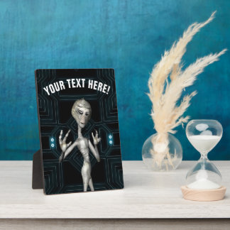 Grey Alien Sci-Fi Geek Photo Plaques